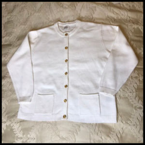 Classic White Cardigan with Gild Tone Buttons
